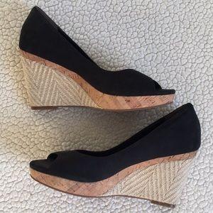 Cole Haan, Nike Air Black peep toe wedges sz 9